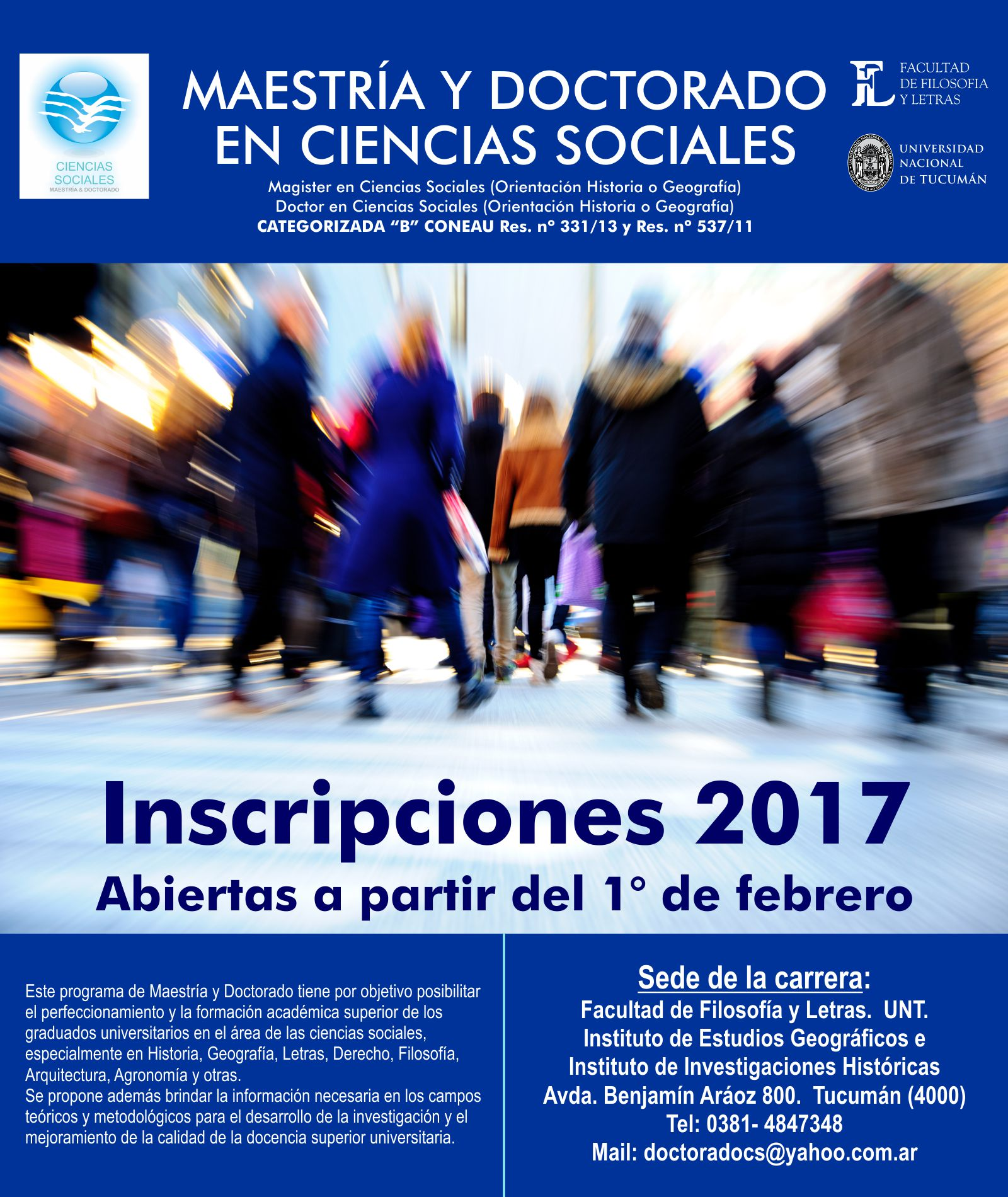 Inscripción Doctorado en Cs. Sociales